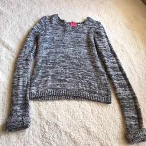 Grey and white cropped sweater